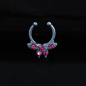 Oasis Plus Pink Crystal Silver Butterfly Clip On Septum Fake Nose Ring Hoop Non Piercing Hanger Nose Rings Stud Body Jewellery