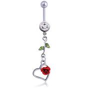 Oasis Plus Rose Clear Green Crystal Navel Ring Dangle Rhinestone Belly Button Rings Hoop Body Glitter Piercing Jewellery
