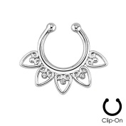 Oasis Plus Clear Crystal Silver Clip On Septum Fake Nose Ring Hoop Non Piercing Hanger Nose Rings Stud Body Jewellery
