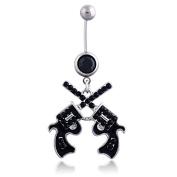 Oasis Plus Cool Revolver Black Crystal Navel Ring Rhinestone Belly Button Rings Hoop Body Glitter Piercing Jewellery