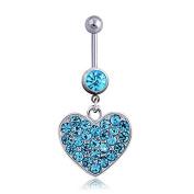 Oasis Plus Heart-shape Blue Crystal Navel Ring Dangle Belly Button Rings Hoop Body Glitter Piercing Jewellery