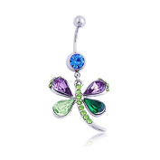 Oasis Plus Sexy Dragonfly Green Purple Blue Crystal Navel Ring Rhinestone Belly Button Rings Hoop Body Glitter Piercing Jewellery
