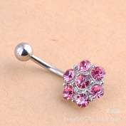 Oasis Plus Sexy Pink Crystal Navel Ring Rhinestone Belly Button Rings Hoop Body Glitter Piercing Jewellery for Girl Women
