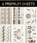 6 Premium Sheets - Metallic Gold and Silver Temporary Flash Tattoos - High Quality and Trendy