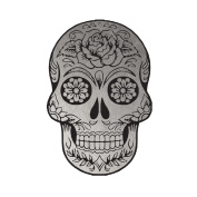 Silver Metallic Sugar Skull Jewellery Temporary Tattoo