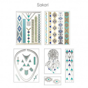 Sakari Silver & Turquoise Metallic Jewellery Temporary Tattoos with Dreamcatcher