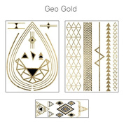 Geometric Gold Metallic Jewellery Temporary Tattoos with Triangles