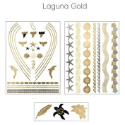 Laguna Gold Metallic Jewellery Temporary Tattoos Tropical Beach Theme