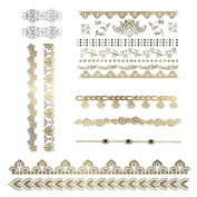 Dahlia - Metallic Gold & Silver Jewellery Temporary Tattoos - Flower Pack