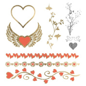 Mon Amour - Metallic Gold & Orange Jewellery Temporary Tattoos - Love and Heart Theme