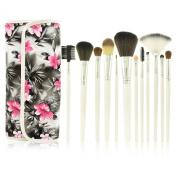 Kolight® New Fashion Portable 12pcs Makeup Brush Sets PU Rose Leather Case