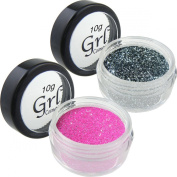 Dynamic Duo Neon Magenta and Silver Black Cosmetic Glitter Set, Two 10 Gramme Jars