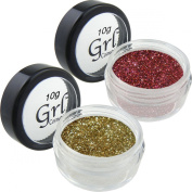 Dynamic Duo Bronze and Cherry Cosmetic Glitter Set, Two 10 Gramme Jars