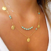 Lookatool Women Gold Double Turquoise Sequins Pendant Chain Statement Necklace