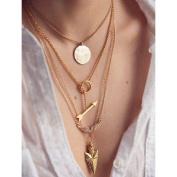 Lookatool Women Multilayer Irregular Crystal Gold Pendant Chain Statement Necklace