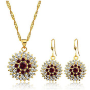 Red White Crystal Cubic Zirconia Edelweiss Sunflower Pendant Necklace and Earrings Jewellery Set, 41cm +5.1cm Extender, Packed in a Gift Box, the Best for Mother Wife Grandmother Womens