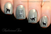 NAILICIOUS TEN Love Cats Design Nail Wraps Water Transfers 21pcs Decals ST8180