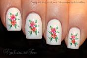NAILICIOUS TEN Tropical Flowers Design Nail Wraps Water Transfers 21pcs Decals ST8183