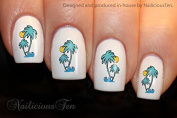 NAILICIOUS TEN Palm Trees with Sun Nail Wraps Water Transfers 21pcs Decals ST8184
