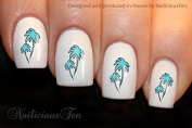 NAILICIOUS TEN Aqua Palm Trees Nail Wraps Art Water Transfer Decal 21pcs ST8185