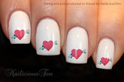 NAILICIOUS TEN Hearts with Arrow Nail Wraps Art Water Transfer Decal 21pcs ST8187