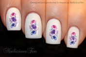 NAILICIOUS TEN Purple Roses Nail Wraps Art Water Transfer Decal 21pcs ST8188