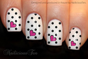 NAILICIOUS TEN Heart & Dots Nail Wraps Art Water Transfer Decal 12pcs ST8189
