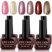 Gellen 6pcs 8ml Shiny Soak Off Gel Polish Uv Nail Gel Brown Bottle Collection Mixed Colour#061