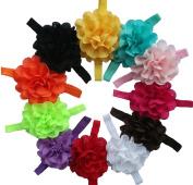 Qandsweet Baby Girl's Headbands with Chiffon Flower
