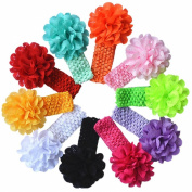 Qandsweet Baby Girl's Headbands with Chiffon Flower