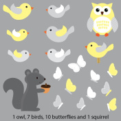 Yellow and Grey Bird and Owl Decals for Baby Nursery, Squirrel Birds and Owls