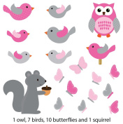 Pink Bird and Owl Wall Decals for Baby Nursery, Squirrel Birds and Owls