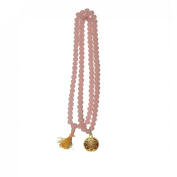 Odishabazaar Rose Quartz Japa Mala 108+guru Bead with Swastik Pendant - Overcomes Heart Traumas Attracts Love