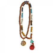 Odishabazaar Seven Chakra Rudraksha Mix Unknoted Japa Mala 108 Count with Buddha Head Guru Bead with Swastik Pendant - Balanced Emotion Aligned Chakras