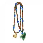 Odishabazaar Green Jade Rudraksha Hand Knotted Japa Mala 108+1 Beads with Swastik Pendant - Symbol of Successful Love