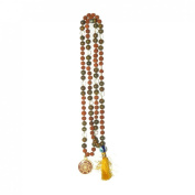 Odishabazaar Unakite Rudraksha Mix Hand Knotted Japa Mala 108+1 Evil Eye Guru Bead with Swastik Pendant - Protects Against Electromagnetic Pollution