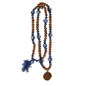 Odishabazaar Blue Agate Rudraksha Hand Knotted Japa Mala Yoga 108+1 Beads with Swastik Pendant - Remove Blockages From the Nervous System