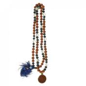Odishabazaar Blue Agate Rudraksha Hand Knotted Japa Mala Yoga 108+1 Evil Eye Guru Bead with Swastik Pendant - Remove Blockages From the Nervous System