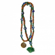 Odishabazaar Green Jade Rudraksha Hand Knotted Japa Mala 108+1 Evil Eye Guru Bead with Swastik Pendant - Symbol of Successful Love