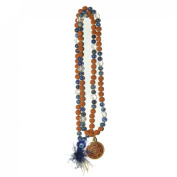 Odishabazaar Lapis Lazuli Rudraksha Mix Hand Knotted Japa Mala 108+1 Evil Eye Guru Bead with Swastik Pendant - Relieve Anger and Negative Thoughts