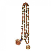 Odishabazaar Tiger Eye Rudraksha Hand Knotted Japa Mala 108+1 Evil Eye Guru Bead with Swastik Pendant - Promotes Courage and Self-integration