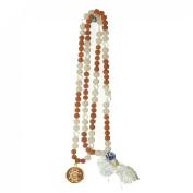 Odishabazaar White Jade Rudraksha Hand Knotted Japa Mala Yoga 108+1 Evil Eye Guru Bead with Swastik Pendant - Ultimate Pregnancy Stone