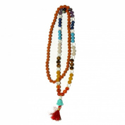 Odishabazaar Seven Chakra Rudraksha Mix Unknoted Japa Mala 108 Count with Buddha Head Guru Beads Balanced Emotion Aligned Chakras