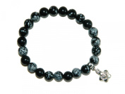 A2-0073 - Beautiful Snowflake Obsidian Gemstone Beads Mala Bracelet with Wealth Charm