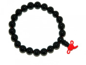 A2-0062 - Beautiful Black Agate Gemstone Mala Bracelet 5.5ccm Diameter