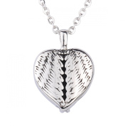 ZARABE Cremation Jewellery Angle Wings Feather Heart urn Pendant Memorial Urn Necklace Stainless Steel chain