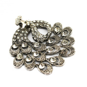 PendantScarf Retro Silver Rhinestones Peacock Pendant for DIY Jewellery Necklace