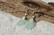 Aqua Sea Glass Sterling Silver Earrings