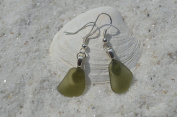 Light Olive Green Sea Glass Sterling Silver Earrings