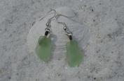 Light Green Sea Glass Sterling Silver Earrings